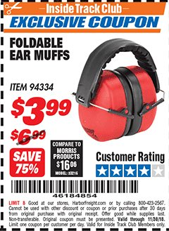 Harbor Freight ITC Coupon FOLDABLE EAR MUFFS Lot No. 94334 Expired: 11/30/18 - $3.99