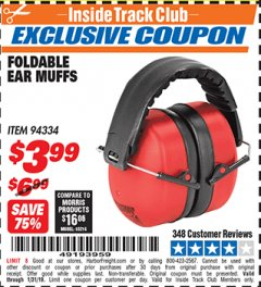 Harbor Freight ITC Coupon FOLDABLE EAR MUFFS Lot No. 94334 Expired: 1/31/19 - $3.99
