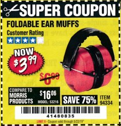 Harbor Freight Coupon FOLDABLE EAR MUFFS Lot No. 94334 Valid Thru: 5/22/19 - $3.99
