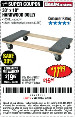 Harbor Freight Coupon 1000 LB. CAPACITY MOVER'S DOLLY Lot No. 38970/61897 EXPIRES: 6/30/20 - $11.99