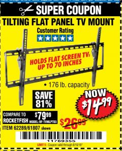 Harbor Freight Coupon TILTING FLAT PANEL TV MOUNT Lot No. 62289/61807 Expired: 8/10/18 - $14.99