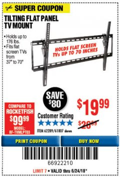 Harbor Freight Coupon TILTING FLAT PANEL TV MOUNT Lot No. 62289/61807 Expired: 6/24/18 - $19.99