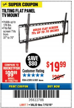 Harbor Freight Coupon TILTING FLAT PANEL TV MOUNT Lot No. 62289/61807 Expired: 7/15/18 - $19.99