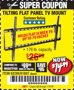 Harbor Freight Coupon TILTING FLAT PANEL TV MOUNT Lot No. 62289/61807 Expired: 11/12/18 - $14.99