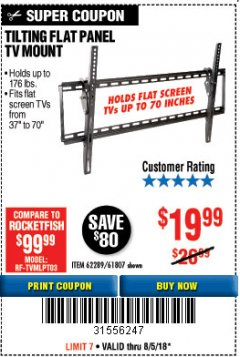Harbor Freight Coupon TILTING FLAT PANEL TV MOUNT Lot No. 62289/61807 Expired: 8/5/18 - $19.99