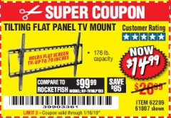 Harbor Freight Coupon TILTING FLAT PANEL TV MOUNT Lot No. 62289/61807 Expired: 1/16/19 - $14.99