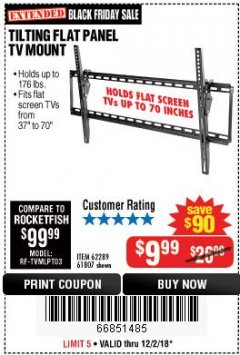 Harbor Freight Coupon TILTING FLAT PANEL TV MOUNT Lot No. 62289/61807 Expired: 12/2/18 - $9.99