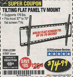 Harbor Freight Coupon TILTING FLAT PANEL TV MOUNT Lot No. 62289/61807 Expired: 4/30/19 - $14.99