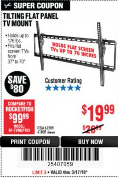 Harbor Freight Coupon TILTING FLAT PANEL TV MOUNT Lot No. 62289/61807 Expired: 3/17/19 - $19.99