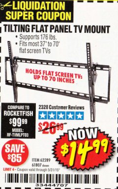 Harbor Freight Coupon TILTING FLAT PANEL TV MOUNT Lot No. 62289/61807 Expired: 5/31/19 - $14.99