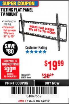 Harbor Freight Coupon TILTING FLAT PANEL TV MOUNT Lot No. 62289/61807 Expired: 4/23/19 - $19.99