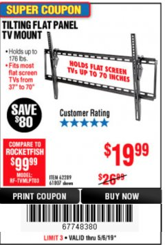 Harbor Freight Coupon TILTING FLAT PANEL TV MOUNT Lot No. 62289/61807 Expired: 5/6/19 - $19.99