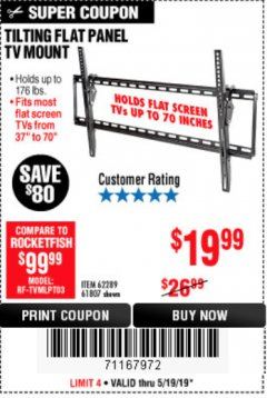 Harbor Freight Coupon TILTING FLAT PANEL TV MOUNT Lot No. 62289/61807 Expired: 5/19/19 - $19.99