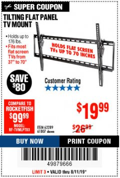 Harbor Freight Coupon TILTING FLAT PANEL TV MOUNT Lot No. 62289/61807 Expired: 8/11/19 - $19.99