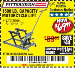 Harbor Freight Coupon 1500 LB. CAPACITY ATV/MOTORCYCLE LIFT Lot No. 2792/69995/60536/61632 Expired: 10/27/18 - $69.99