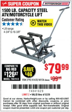 Harbor Freight Coupon 1500 LB. CAPACITY ATV/MOTORCYCLE LIFT Lot No. 2792/69995/60536/61632 EXPIRES: 6/30/20 - $79.99