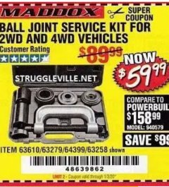Harbor Freight Coupon BALL JOINT SERVICE KIT FOR 2WD AND 4WD VEHICLES Lot No. 64399/63279/63258/63610 Expired: 1/30/20 - $59.99