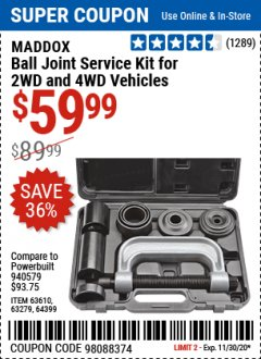 Harbor Freight Coupon BALL JOINT SERVICE KIT FOR 2WD AND 4WD VEHICLES Lot No. 64399/63279/63258/63610 Expired: 11/30/20 - $59.99