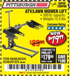 Harbor Freight Coupon HIGH LIFT RIDING LAWN MOWER/ATV LIFT Lot No. 61523/60395/62325/62493 Expired: 8/20/18 - $79.99