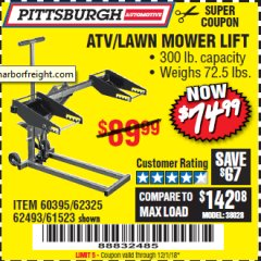 Harbor Freight Coupon HIGH LIFT RIDING LAWN MOWER/ATV LIFT Lot No. 61523/60395/62325/62493 Expired: 12/1/18 - $74.99