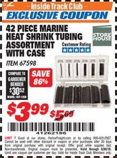 Harbor Freight ITC Coupon 42 PIECE MARINE HEAT SHRINK TUBING ASSORMENT WITH CASE Lot No. 67598 Expired: 6/30/18 - $3.99