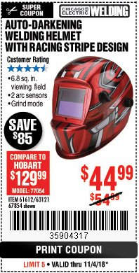 Harbor Freight Coupon AUTO-DARKENING WELDING HELMET WITH RACING STRIPE DESIGN Lot No. 67854/61612 Expired: 11/4/18 - $44.99