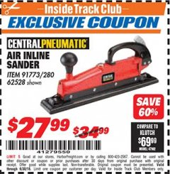 Harbor Freight ITC Coupon AIR INLINE SANDER Lot No. 280/91773/62528 Expired: 6/30/18 - $27.99