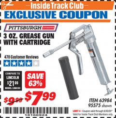 Harbor Freight ITC Coupon 3 OZ. GREASE GUN WITH CARTRIDGE Lot No. 95575 Dates Valid: 12/31/69 - 6/30/20 - $7.99