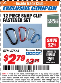 Harbor Freight ITC Coupon 12 PIECE SNAP CLIP FASTENER SET Lot No. 67563 Expired: 10/31/18 - $2.79