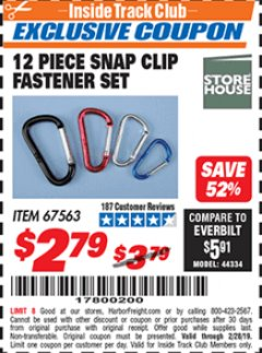 Harbor Freight ITC Coupon 12 PIECE SNAP CLIP FASTENER SET Lot No. 67563 Valid Thru: 2/28/19 - $2.79