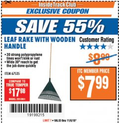 Harbor Freight ITC Coupon LEAF RAKE WITH WOODEN HANDLE Lot No. 67535 Expired: 11/6/18 - $7.99