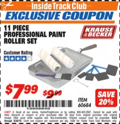 Harbor Freight ITC Coupon 11 PIECE PROFESSIONAL PAINT ROLLER SET Lot No. 60684 Expired: 9/30/18 - $7.99