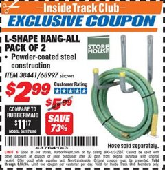 Harbor Freight ITC Coupon 2 PIECE L-SHAPE HANG-ALL Lot No. 38441/68997 Expired: 6/30/18 - $2.99