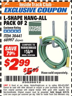 Harbor Freight ITC Coupon 2 PIECE L-SHAPE HANG-ALL Lot No. 38441/68997 Expired: 8/31/18 - $2.99
