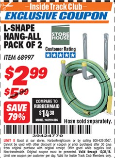 Harbor Freight ITC Coupon 2 PIECE L-SHAPE HANG-ALL Lot No. 38441/68997 Expired: 10/31/18 - $2.99