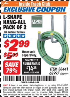 Harbor Freight ITC Coupon 2 PIECE L-SHAPE HANG-ALL Lot No. 38441/68997 Expired: 1/31/19 - $2.99
