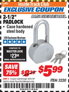 "Harbor Freight ITC Coupon 2-12"" PADLOCK Lot No. 3220 Expired: 10/31/19 - $5.99"