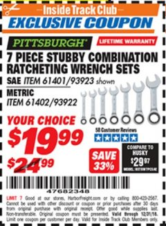 Harbor Freight ITC Coupon 7 PIECE STUBBY RATCHETING COMBINATION WRENCH SETS Lot No. 61401/93923/93922/61402 Expired: 12/31/18 - $19.99