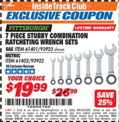 Harbor Freight ITC Coupon 7 PIECE STUBBY RATCHETING COMBINATION WRENCH SETS Lot No. 61401/93923/93922/61402 Expired: 4/30/19 - $19.99