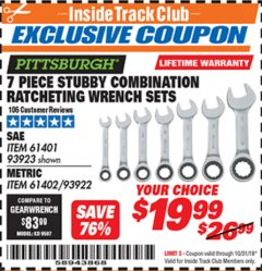 Harbor Freight ITC Coupon 7 PIECE STUBBY RATCHETING COMBINATION WRENCH SETS Lot No. 61401/93923/93922/61402 Expired: 10/31/19 - $19.99