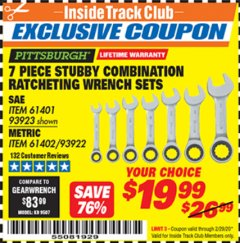 Harbor Freight ITC Coupon 7 PIECE STUBBY RATCHETING COMBINATION WRENCH SETS Lot No. 61401/93923/93922/61402 Expired: 2/29/20 - $19.99