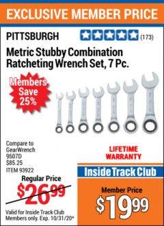 Harbor Freight ITC Coupon 7 PIECE STUBBY RATCHETING COMBINATION WRENCH SETS Lot No. 61401/93923/93922/61402 Expired: 10/31/20 - $19.99