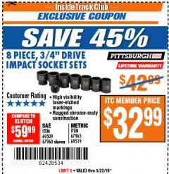 "Harbor Freight ITC Coupon 8 PIECE 3/4"" DRIVE IMPACT SOCKET SETS Lot No. 69509/67960/67965/69519 Expired: 5/22/18 - $32.99"