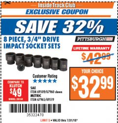 "Harbor Freight ITC Coupon 8 PIECE 3/4"" DRIVE IMPACT SOCKET SETS Lot No. 69509/67960/67965/69519 Expired: 7/31/18 - $32.99"