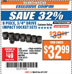 "Harbor Freight ITC Coupon 8 PIECE 3/4"" DRIVE IMPACT SOCKET SETS Lot No. 69509/67960/67965/69519 Expired: 9/11/18 - $32.99"