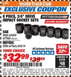 "Harbor Freight ITC Coupon 8 PIECE 3/4"" DRIVE IMPACT SOCKET SETS Lot No. 69509/67960/67965/69519 Expired: 12/31/18 - $32.99"