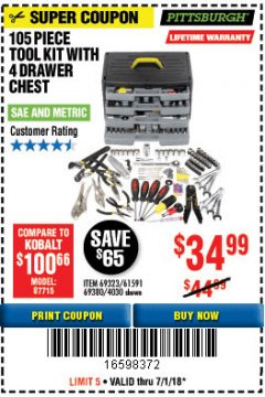 Harbor Freight Coupon 105 PIECE TOOL KIT WITH 4-DRAWER CHEST Lot No. 4030/69323/69380/61591 Expired: 7/1/18 - $34.99