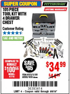 Harbor Freight Coupon 105 PIECE TOOL KIT WITH 4-DRAWER CHEST Lot No. 4030/69323/69380/61591 Expired: 8/6/18 - $34.99