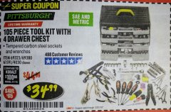 Harbor Freight Coupon 105 PIECE TOOL KIT WITH 4-DRAWER CHEST Lot No. 4030/69323/69380/61591 Expired: 12/31/18 - $34.99