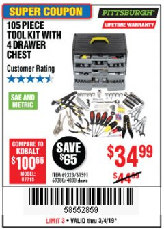 Harbor Freight Coupon 105 PIECE TOOL KIT WITH 4-DRAWER CHEST Lot No. 4030/69323/69380/61591 Expired: 3/4/19 - $34.99